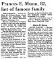 Obituary of Frances E. Munn