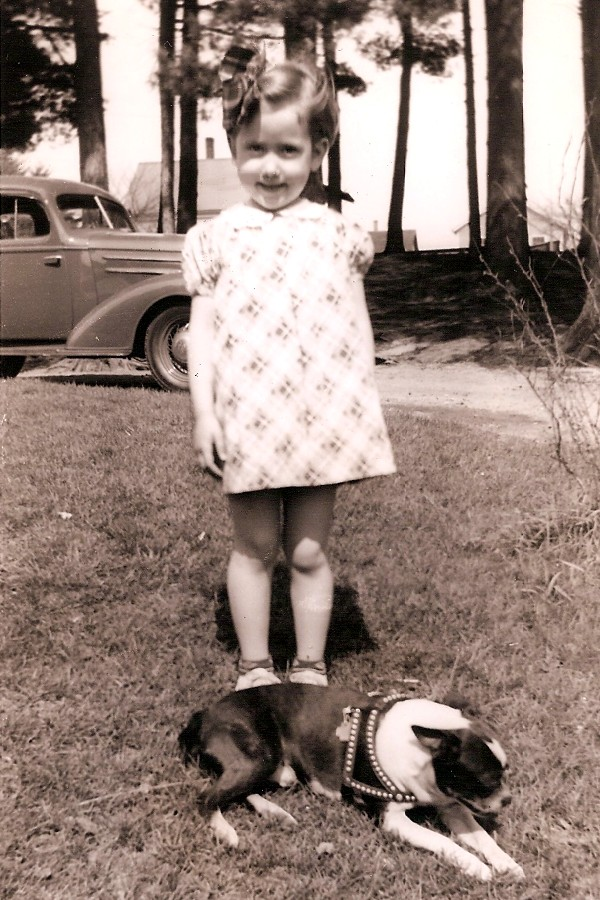 Marilyn Ann Hunter and her Boston terrier Lindy c 1936.